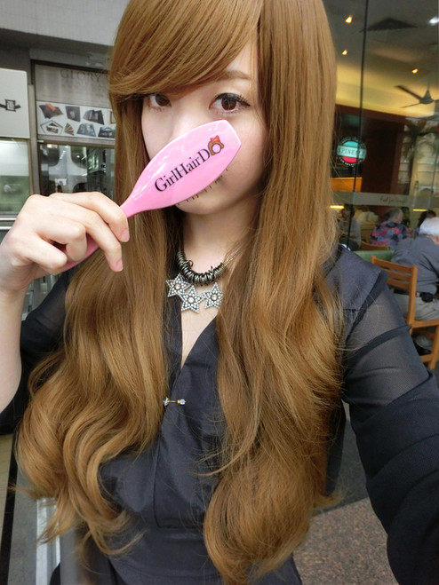 #9562 light caramel brown premium quality soft long thick full wig non shiny heat resistant