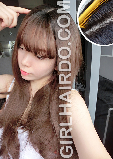 Premium Mocha Ash Long Straight Wave Wig with Black Roots Super real