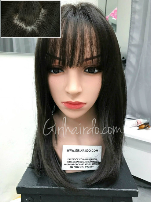 new design dark brownish black natural looking wig with fringes and layerings
