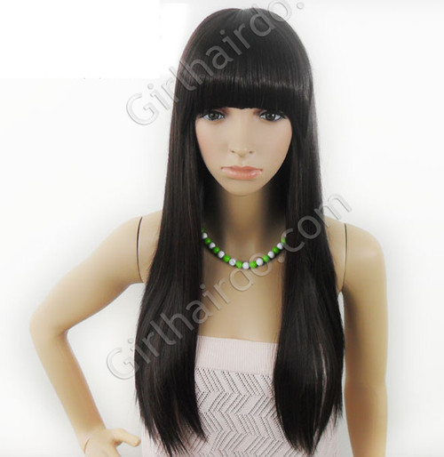 #LONG [PREMIUM] Straight Bangs Super Long Rebonded Full Wig
