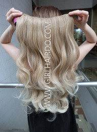 005W MIX BLONDE FULL PIECE HAIR EXTENSIONS SOFT CURLS -170G