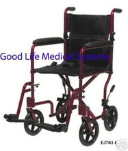 """Aluminum Transport Chair, Lightweight, Red Frame, 17"""" Seat, Manufactured by Everest & Jennings"""