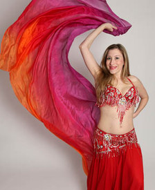 5mm Ultralight 3 yard Silk Belly Dance Veil, in TROPICAL SUNSET