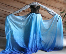 5mm Ultralight 3 yard Silk Belly Dance Veil, in BLUE BREEZES