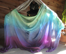 5mm Ultralight 3 yard Silk Belly Dance Veil, in 'ISIS+SEAFOAM'