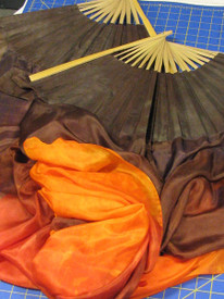 ORDERABLE: Inv #109  Standard Long Pair of 5mm Silk Habotai fans in, Chocolate Oranges Veil, Chocolate Hand, Med Stave, 36x60 inches/1.47 m