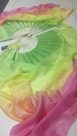 ORDERABLE: Inv #520 Standard Long Pair of 5mm Silk Habotai fans in, MERRY MEADOWS RAINBOW with MEADOW HAND, Small Stave, 36x60inch