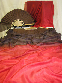 ORDERABLE: Inv #273, Standard Long Pair of 5mm Silk Habotai fans in, Chocolate-Poppy veil, CHOCOLATE TO POPPY with CHOCOLATE HAND36x60 inches/1.52m.