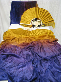 ORDERABLE:  Inv #426 Med stave, Long Pair of Fans--in SHADES OF EVENING with GOLD HAND 36x60 inches/1.52m.