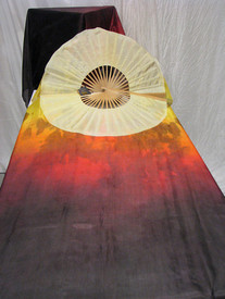 ORDERABLE: Inv #282 Long Pair of Fans Tribal Blaze, Daffodil Hand, Med Stave, 36x60 inches/1.52 m