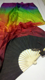 ORDERABLE: Med stave, Long Pair of Fans  CHOCOLATE RAINBOW veil, CHOCOLATE Hand, 60inches