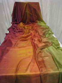 5mm Ultralight 3 yard Silk Belly Dance Veil, in MOSS AND ROSES