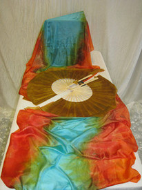"ORDERABLE:  STANDARD LONG Pair of Fans, EGYPTIAN QUEEN -DOUBLE Veil, med Stave, 36x60""/.89x1.52m"
