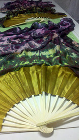 ORDERABLE 5mm Silk Habotai Standard Long Fan Pair in, MERRY MEADOWS+BLACKS with GOLD SATIN HAND,  Medium Stave.