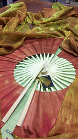 "ORDERABLE:  STANDARD LONG Pair of Fans, XTREME NATURE WITH MAHOGANY HAND, med Stave, 36x60""/.89x1.52m"