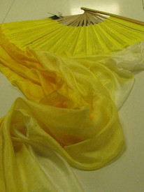 ORDERABLE:  Standard Long Pair of Fans - BRIGHT TONAL YELLOWS WITH YELLOW HAND, Medium Stave, 36x61 inches/1.55 m