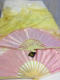 ORDERABLE:  Standard Long Pair of fans--in LACE AND ROSES WITH ROSE HAND  Medium Stave.