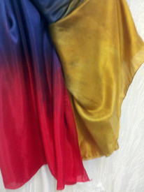 5mm Ultralight 3 yard Silk Belly Dance Veil, in GOLD RAINBOW