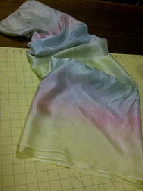 ORDERABLE:  5mm Ultralight 3 yard Silk Belly Dance Veil, in SILVER PASTEL RAINBOW