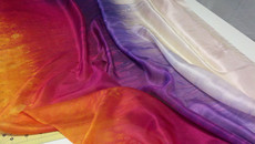 5mm Ultralight 3 yard Silk Belly Dance Veil, in NUDE TROPICAL SUNSET (New! Winter 2012)