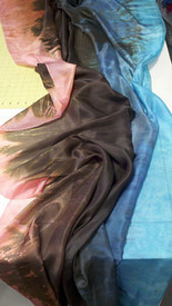 5mm Ultralight 3 yard Silk Belly Dance Veil, in SALMON TWILIGHT (New! May 2012)