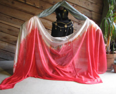 ORDERABLE   5mm Ultralight 3 Yard Silk Belly Dance Veil in SOFT REDS FADES TO WHITE