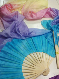 ORDERABLE:   Standard Long Fan Pair in, HAPPINESS CHEERFUL RAINBOW with SKY HAND, Med Stave
