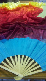 ORDERABLE:  STANDARD LONG FAN PAIR 5mm Silk Habotai  in ZIA with DELPHINIUM Silk Satin HAND