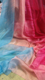 NEW!  ORDERABLE ONLY:  5mm Ultralight 3 yard Silk Belly Dance Veil, in PEACH SKIES
