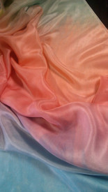 NEW!  ORDERABLE ONLY:  5mm Ultralight 3 yard Silk Belly Dance Veil, in SALMON SEAFOAM RAINBOW