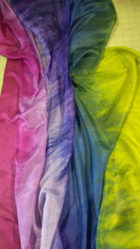 INSTOCK READY2SHIP:   CHARTREUSE RAINBOW   on 5mm Ultralight Silk 3 Yard Belly Dance Veil