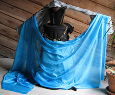 SPRING  VEIL OFFER:  5mm Ultralight 3 yard Silk Belly Dance Veil, in DELPHINIUM TURQUOISE BLUE
