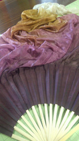 ORDERABLE:  5mm Silk Habotai Standard Long Fan Pair in, CUPID  + BRONZE with PLUM WINE HAND, SM/Med Stave