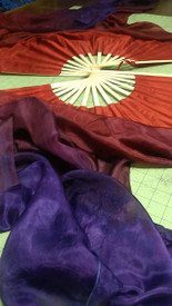ORDERABLE  Standard Long Fan Pair in DARK GYPSY  and 12mm DEEP RED SATIN  HAND