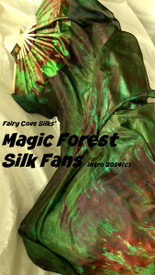 ORDERABLE:  Standard Long Fan Pair in MAGICAL FOREST and 12mm TEXTURED GREEN SATIN  HAND