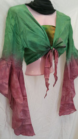 INSTOCK: *MEDIUM *  SILK GYPSY  TOP  with PLAYFUL, ADJUSTABLE SLEEVE  in SOFT EMERALD TO ROSE