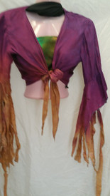 INSTOCK: *MEDIUM 1-ONLY *  SILK GYPSY  TOP  with PLAYFUL, ADJUSTABLE SLEEVE  in SHADES OF EVENING with  SEWN FAIRY SLEEVES