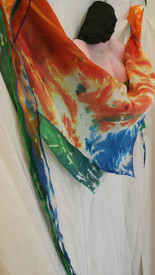 INSTOCK:  *LARGE 24X74X24INCH  1-ONLY*  DOUBLE SIDED  and REVERSIBLE TRIANGLE SCARF in BLUE and GREEN TIGER