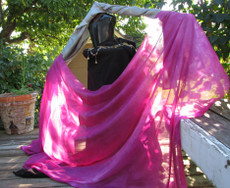 5MM 3YARD INSTOCK READY2SHIP: 5MM ULTRALIGHT 3 YARD SILK BELLY DANCE VEIL, in LIGHT BRIGHT PINK FUCHSIA