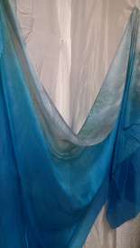 SPRING  VEIL OFFER:  5mm Ultralight 3 yard Silk Belly Dance Veil in,  SILVER to TURQUOISE