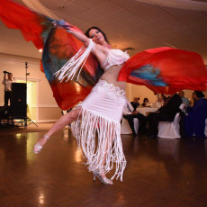 Katya dancing with SALMON RED EGYPTIAN 54X90 8mm habotai