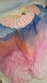ORDERABLE standard PAIR Long Fan 36x60 in DAWN SKY RAINBOW -  SALMON HAND, Sm/Med Stave