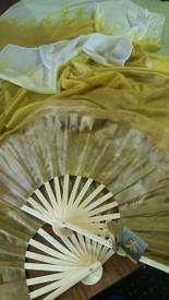 ORDERABLE: Med stave, STANDARD Long Pair of Fans TONAL GOLD FADE with FAWNY GOLD Hand, 60inches