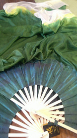 ORDERABLE:  STANDARD LONG Pair of Fans in TONAL FADE GREEN TO WHITE with DARK FOREST HAND Med Stave, 36x60 inches
