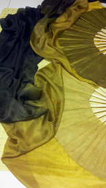ORDERABLE:  STANDARD LONG Pair of Fans in TUTUNKHAMEN with GOLD HAND Med Stave, 36x60 inches