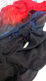 ORDERABLE:  STANDARD 60inch PAIR FAN 5mm Silk Habotai in, BLUE FIRE with POPPY RED HAND SM/Med Stave