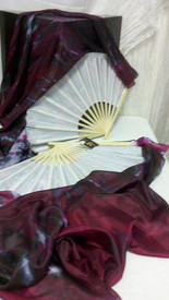 ORDERABLE:  Standard Long Fan Pair in WHITE GARNET FIRE and WHITE 12mm SATIN  HAND