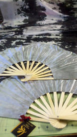 ORDERABLE:  Standard Long Fan Pair in FANTASY BLACK with SILVER 12mm SATIN  HAND