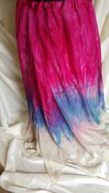 INSTOCK SHIPS IMMEDIATELY:  37inch   FORKED PETAL SKIRT in 8mm Habotai  DYED in FUCHSIA SKIES