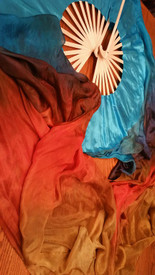 ORDERABLE:   Standard Long Fan Pair in DUSKY EGYPTIAN QUEEN with DELPHINIUM BLUE silk satin HANDS